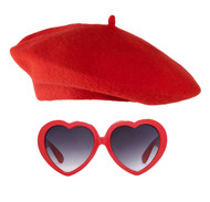 French Lolita Beret and Heart Sunglasses Kit
