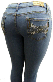 Women's Omega Skinny Stretch Jeans- Cross Bridge Multi 17