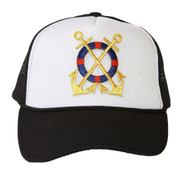 Trucker Mesh Vent Snapback Hat, Gold Anchor 3D Patch Embroidery