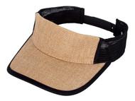 TopHeadwear Burlap Summer Sun Visor Hat - Khaki/Black