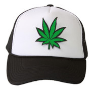 Trucker Mesh Vent Snapback Hat, Leaf 3D Patch Embroidery