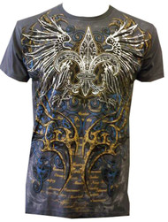 Konflic NWT Men's Winged Cross Graphic Fashion MMA Muscle Crewneck T-shirt
