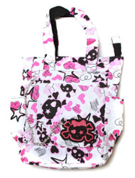 Skulls and Hearts Punk Messenger Bag with Chain
