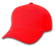Plain Fitted Curve Bill Hat, Red 7 1/4