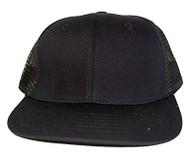 New Style Cotton Style Flat Bill Trucker Mesh Hat Cap - Solid Black Mesh
