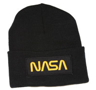 Delux 3D Patch Embroidery Black Cuff Beanie, Space NASA Gold Logo