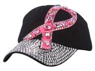 Top Headwear Breast Cancer Awareness Studded Pink Ribbon Baseball Cap