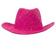 Glitter Sequin Trim Cowboy Hat - Hot Pink