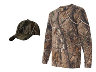 Tree Camouflage Long Sleeve Shirt + Upscale Camo Hat