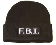 Delux Military 3D Embroidery Law Enforcement CUFF Beanie FBI Tab Patch, Black