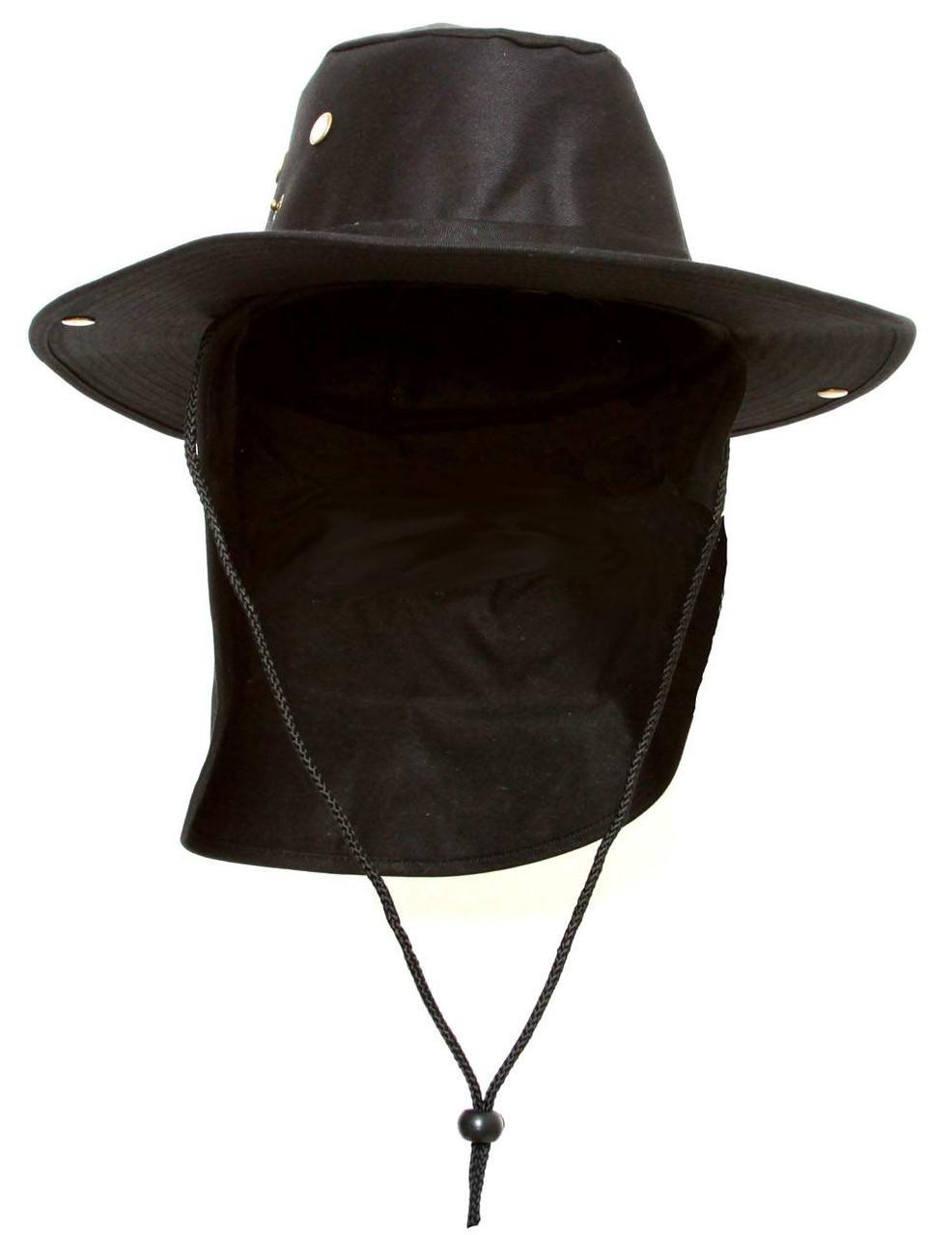 0351d4d115d Top Headwear Safari Explorer Bucket Hat With Flap Neck Cover - Black -  Gravity Trading