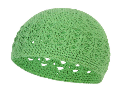 Crocheted Knit Beanie Domes- Green