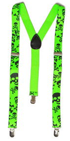 Giant Skull 3 Clip Stretchable Suspenders 2 pack