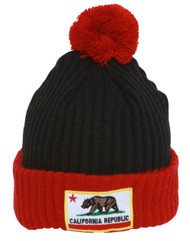 California Republic Pom Pom Knitted Cuff Beanie