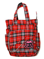 Clover Tote Chain Style Hand Bag - Red and Black Plaid with Cute Skull