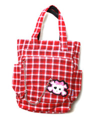 Clover Tote Chain Style Hand Bag - Red and White Plaid with Cute Skull