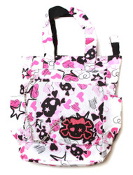 Clover Tote Chain Style Hand Bag - White, Cute Skull and Sketched Hearts and Stars