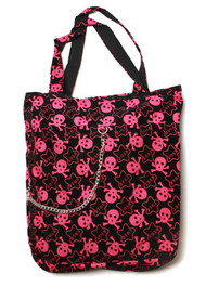 Clover Tote Chain Style Hand Bag - Black, Hot Pink Stars and Skulls Pattern