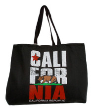 California Republic Flag Black Tote Bag