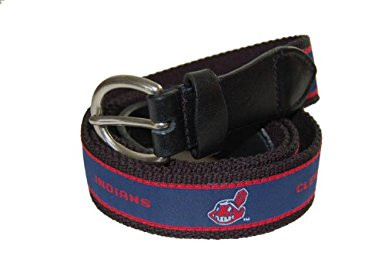 The Mark Adult Canvas Material MLB Cleveland Indians Belt w/Buckle Closure