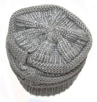 Metallic Thick Knit Soft Stretch Beanie Cap