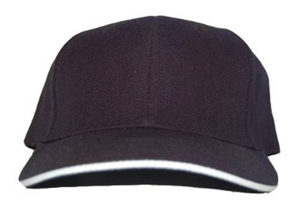 7874625eb38b5 New Plain Blank Sandwich Fitted Curved Hat Cap - Black   White (Size ...
