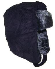 TopHeadwear Russian Trooper Corduroy Winter Hat- Black
