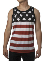Patriotic American Flag Stripes And Stars Tank Top Shirt Adult Men's