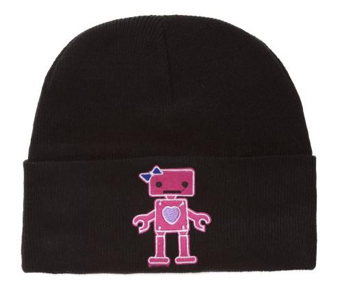 Winter Knit Cuffed Beanie Pink Robot Patch