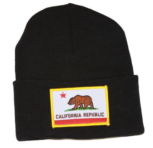 California Republic 3D Patch Embroidery Black Cuff Beanie