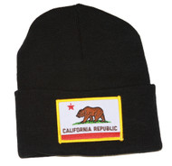 California Republic 3D Patch Embroidery Black Cuff Beanie