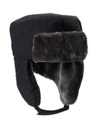 Ushanka Faux Fur Trapper Winter Flight Trooper Hat Cap - BLACK CORDUROY