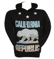California Republic Bear Coast Scenery Hooded Sweatshirt -  Black