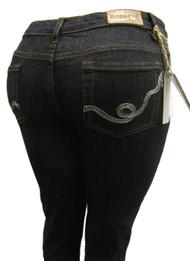 Women's Omega Skinny Stretch Jeans- Blue Twirl 4
