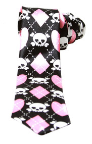 Black White Pink Argyle With Cute Skull Crossbones Neck Tie