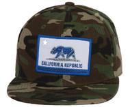 California Republic Flag Camo Snapback - Blue/White