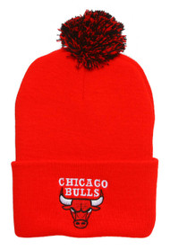 Chicago Bulls Red Cuffed Beanie w/ Pom + Lanyard