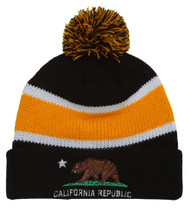 California Republic Winter Cuff Beanie w/ Pom - Black/Yellow