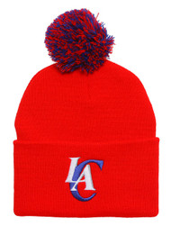 Los Angeles Clippers Red Cuffed Beanie w/ Pom + GT Wristband