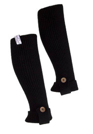 One Button Layered Trimmed Ribber Leg Warmers- Black ( 2 PACK )