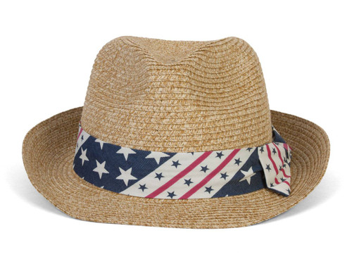Marled Paper Braided Americana Hat w/ Band and Bow