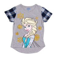 Frozen Elsa Hi Low Top w/ Flannel Sleeves