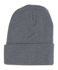 12 Lot (One Color) Long Beanies Wholesale- Charcoal