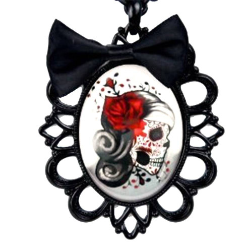 Day of the Dead Skeleton Girl Necklace Black Bow Red Rose Halloween Cosplay