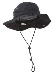 MG Men's Brushed Cotton Twill Aussie Side Snap Chin Cord Hat - Black