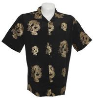 Short Sleeve Dragon Design Button Down Shirt