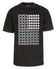 Mens Black Short-Sleeve Studded/Coin/Chain Flag T-Shirt