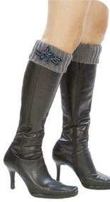 Womens Winter Boot Cuffs w/ Floral Piece