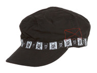 Clover Skull Checkered Band Newsboy Cap - Black