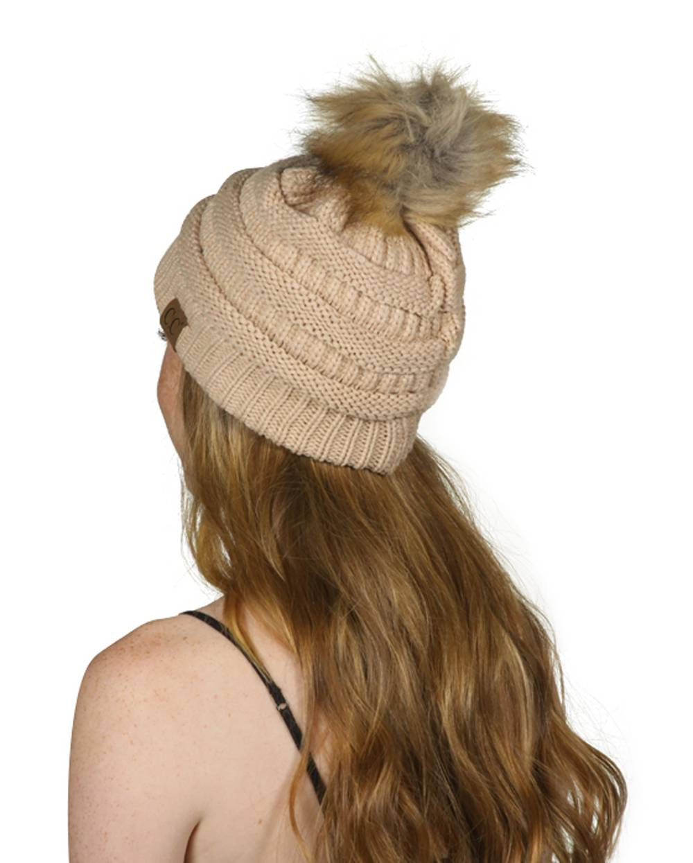 d860eb11537 Gravity Threads Cable Knit Faux Fur Pom Pom Beanie Hat - Gravity Trading